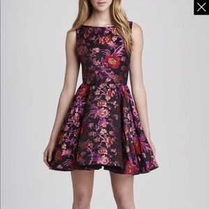 Alice and Olivia cut back flare brocade dress